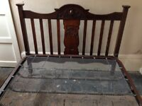 VINTAGE DOUBLE BED WITH CARVED HEADBOARD