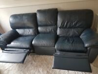 REAL LEATHER RECLINER NAVY BLUE SOFA, ARMCHAIR AND BEAN BAG
