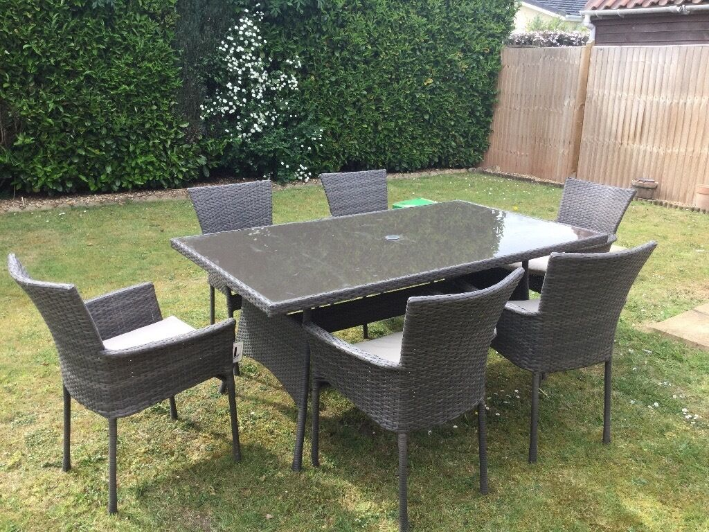 6 seater rattan effect garden furniture set gazebo