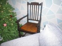 Vintage antique Throne style chair with original leather upholstered seat.