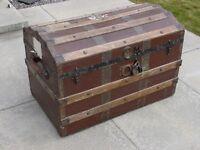 Antique travel chest steamer trunk