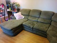 Beautiful Green Sectional Couch with Chaise