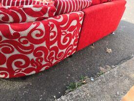 Red corner sofa dfs