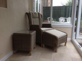 Rattan Reclining chair, footstool & side table.