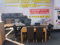 Solid oak table and 6 leatgrr chairs