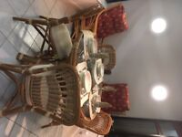 Dining table and chair set - bamboo, excellent condition
