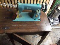 ALFA 50 Vintage Sewing Machine In Dark Oak Tabel Case & Instructions Heavy Duty