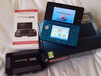 Nintendo 3ds Aqua Blue Boxed mint & 16 top titles / pay pal / secure postage .