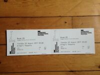 Two tickets (stall, row L) for Room 29 featuring Jarvis Cocker and Chilly Gonzales, £40 each