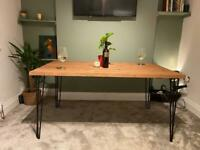 Reclaimed rustic dining room tables + matching bench