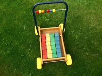 Traditional Wooden Trolley with Bricks