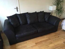 Sofa 3 Seat Black with cushions