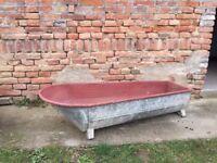 OLD Galvanised metal bath tub / washing Farm Large Water Feature Vintage