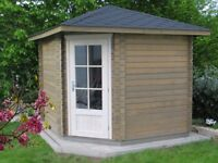 Garden Shed 2.6mx2.6m 28mm walls, if you have a small garden,this cabin would be a perfect choice!
