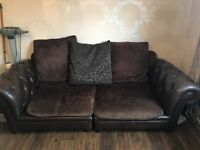 Two seater sofa - brown leather and material mix. Second hand good condition