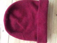 3 cute beanies ( red knit, red possum fur, black cat face)