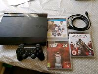 Sony PlayStation 3 super Slim with controller and 3 games