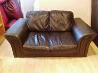 2+2 seater brown leather sofa
