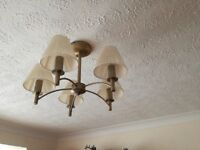 Antique Brass Ceiling Light Fittings x 2 with 2 x matching Wall Lights including Shades and Bulbs