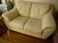 Cream Italian Leather 2 Seater Sofa