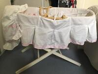Girls white and pink Moses basket with mattress and sheets