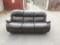 3 Seater brown leather sofa free delivery in ten miles