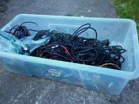 BOX OF - SPEAKER / AMPLIFIER CABLES , WIRES / PARTS
