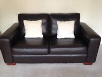 2 x Used 2 Seater Brown Leather Sofa