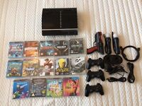 PS3 console, PS3 move, controllers and games bundle