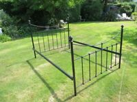 Hand crafted heavy wrought iron bed frame surround