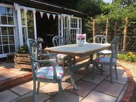 Upcycled Shabby Chic Painted Extending Dining Table and 4 Chairs Duck Egg Blue and Cream