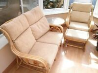 Cane conservatory furniture, 4 piece, good condition. North Wales.