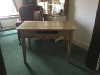 Beautiful solid wood aged table with drawer. Lovely size for cottage or apartment.