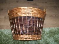 LOG BASKET ,TWO TONE FINISH ,TWO HANDLES VERY STURDY ,ATTRACTIVE BASKET