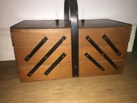 Vintage wooden sewing box large
