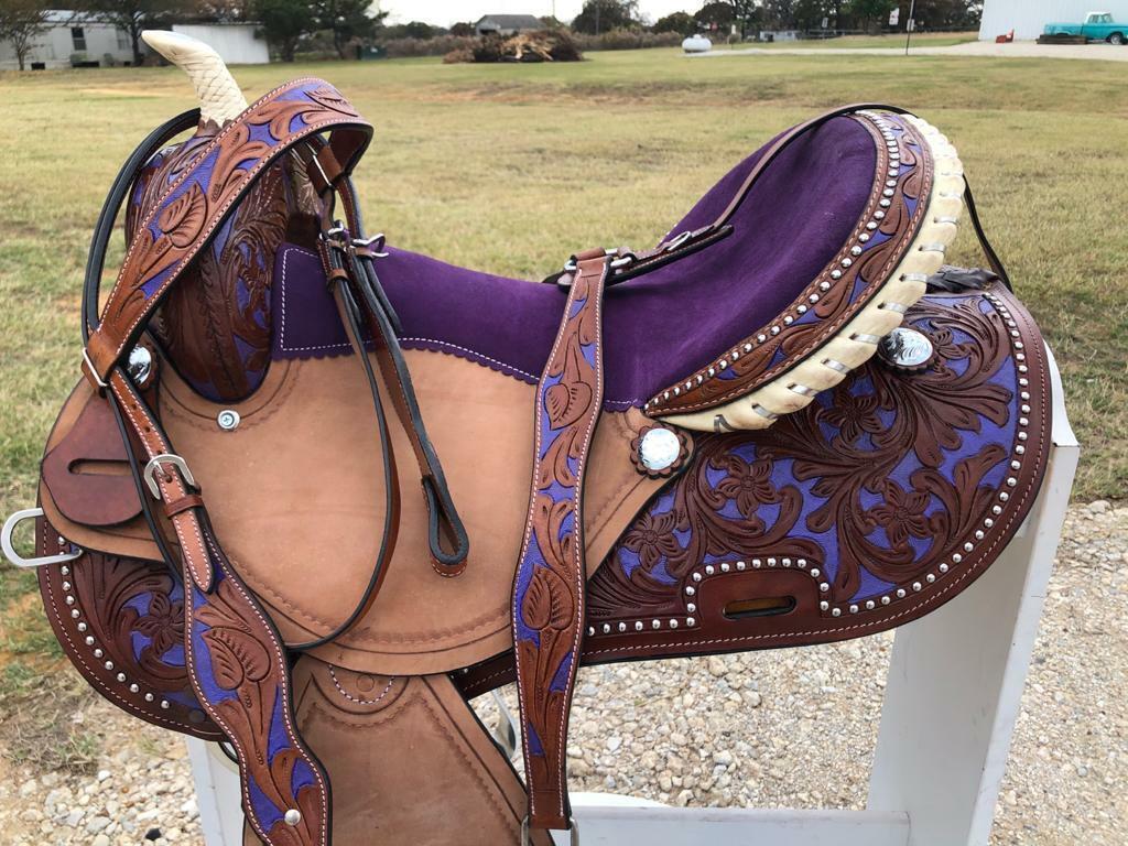 Saddle - Western Leather Barrel Pleasure Trail Horse Saddle