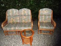 3 PIECE CONSERVATORY FURNITURE GOOD CON ,CAN DELIVER GT YARMOUTH 1x CHAIR, 1x TWO SEATER + TABLE