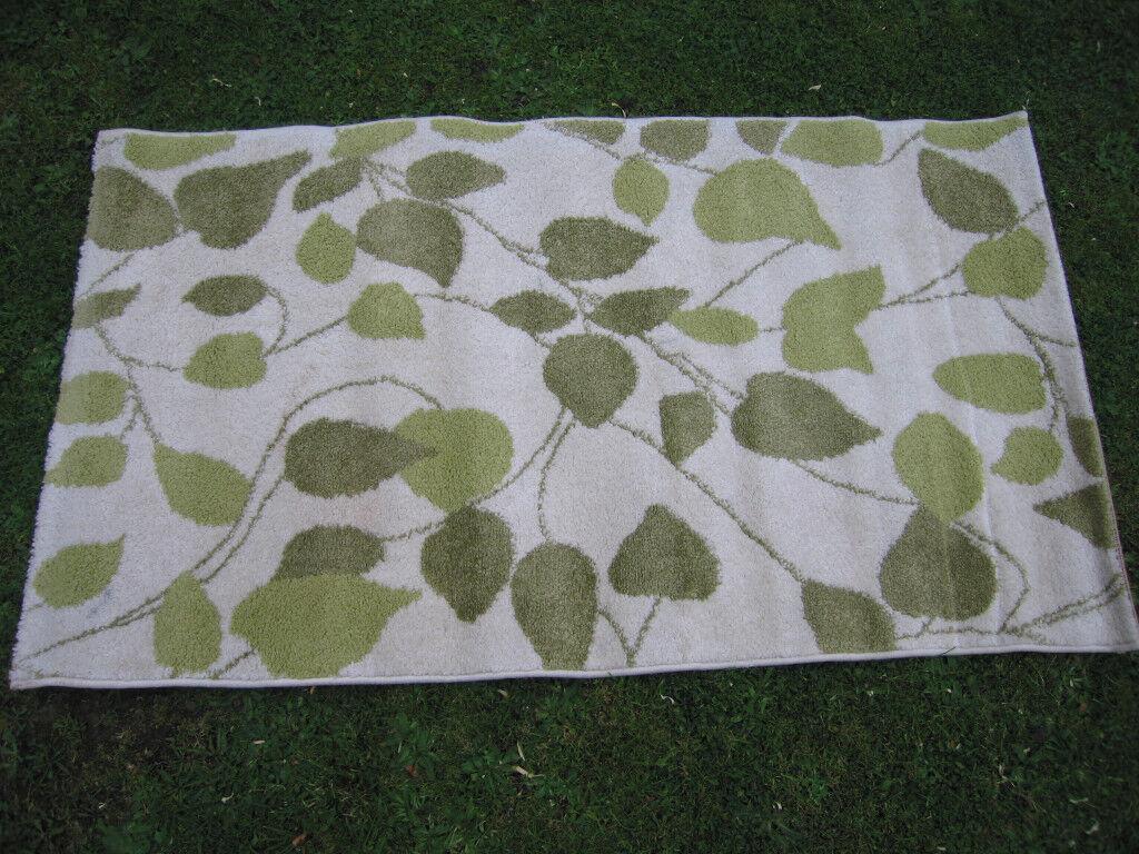 "RECTANGULAR PATTERNED ""PHOEBE GREEN"" RUG 140 cm x 80 cm"