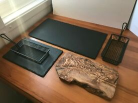 Stone plates and wood board