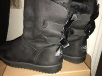 Brand new black faux fur ankle boots (with UGG logo) Size 4 UK