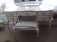 Beautiful shabby chic French Louis style dressing table with stool and triple mirror
