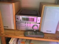 Panasonic remote control music stereo and speakers