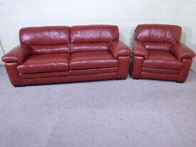 QUALITY EX DISPLAY 'CAROLINA' 3 SEATER SOFA & ARMCHAIR IN RUST BROWN 100% LEATHER SETTEE/SUITE