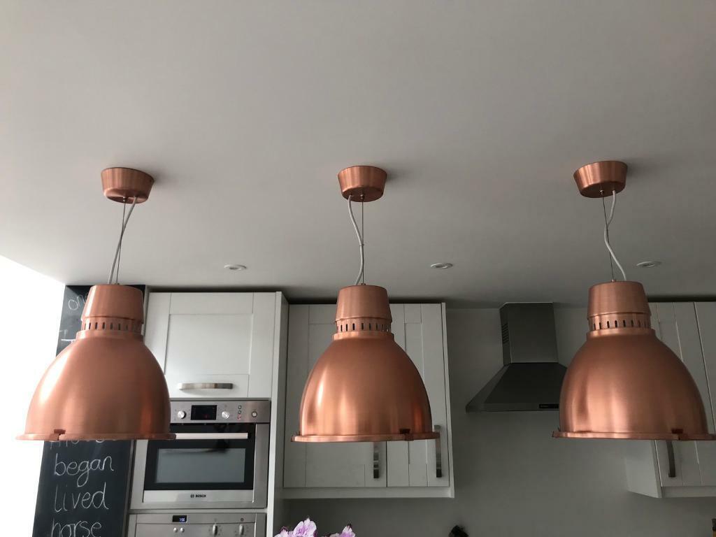 3 X Habitat Copper Pendant Lights In Thames Ditton Surrey Gumtree