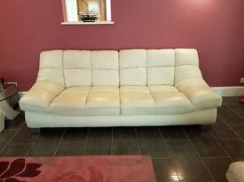 White genuine leather suite 2x 3 seaters and 1 large armchair