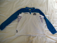 Scotland macron rugby shirt top size EU small blue white worn a few times long sleaves