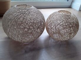 Two woven lamp shades