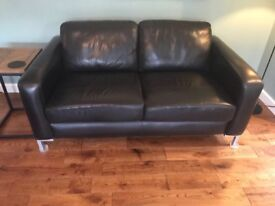 Black leather 2 and 3 seater sofas - originally from John Lewis