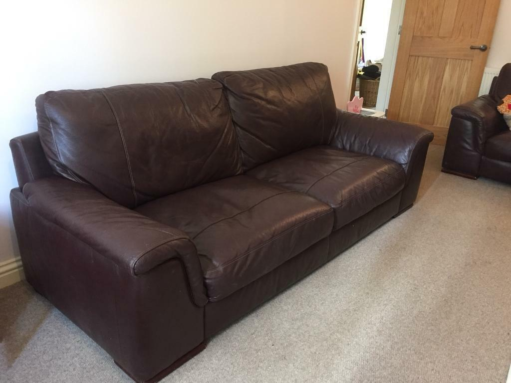 2 Brown Buffalo Skin Leather Sofas