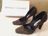 Leopard print pony skin Manolo Blanik shoes with original box